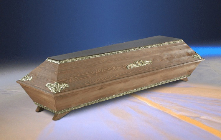 Stained cremation coffin